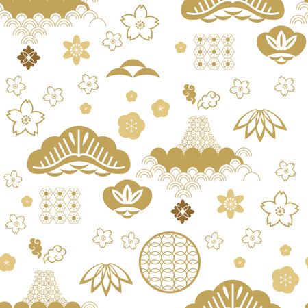 Bellissimo motivo giapponese senza cuciture con nuvole, onde. Elementi giapponesi e cinesi. Struttura asiatica senza giunte di vettore. Per la stampa su imballaggi, tessuti, carta, tessuto, produzione, carte da parati.
