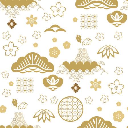 Schönes japanisches nahtloses Muster mit Wolken, Wellen. Japanische, chinesische Elemente. Vektor nahtlose asiatische Textur. Zum Bedrucken von Verpackungen, Textilien, Papier, Stoff, Industrie, Tapeten.
