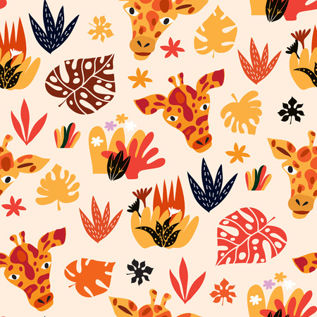 Cute seamless pattern with giraffe in cartoon style. Floral savanna, jungle  background , Kids illustration for design prints, textile, fabric, wallpapers.  Vector  illustration.
