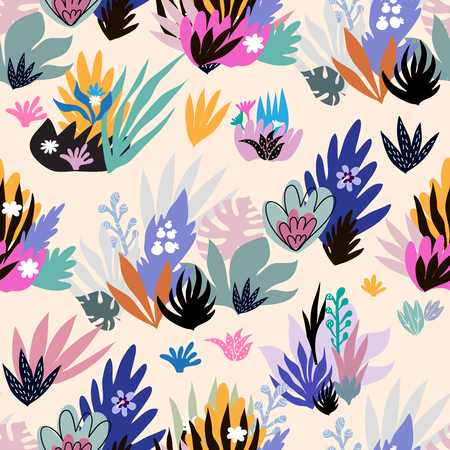 Colorful  fantasy  seamless pattern with tropical  leaves  in cartoon style  on white background.  Summer  tropical  cute design. Greeting Floral  template  textile, postcard, banner, wallpapers. Vector  illustration.