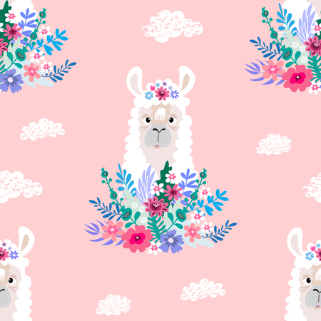 Awesome  hand drawn seamless pattern with  cute lama in cartoon style. Perfect for cards,  wallpaper, textile,  fabric, kindergarten, baby shower, children room decoration. Vector illustration. Иллюстрация