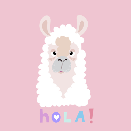 Hola! -Awesome  cute lama in flat cartoon style. Flower wreath.Make your own magic. Kids illustration for design prints, cards and birthday invitations. Vector illustration.