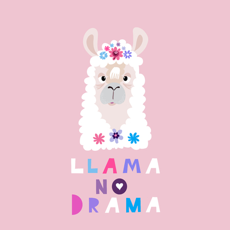 No drama? llama- Hola! -Awesome  cute lama in flat cartoon style. Flower wreath.Make your own magic. Kids illustration for design prints, cards and birthday invitations. Vector illustration. Иллюстрация