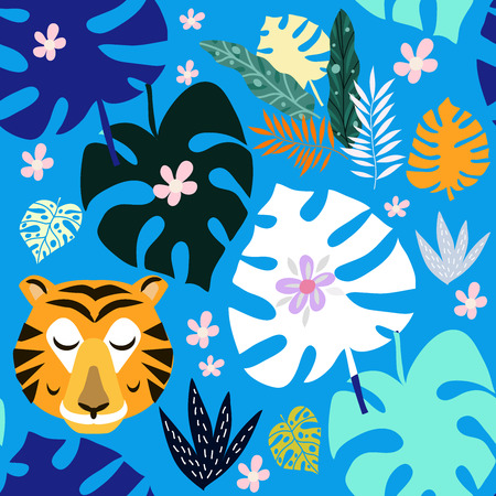 Beautiful seamless pattern with tiger. Tropical flowers background. Cute vector elements in flat cartoon style. Kids illustration for design prints, cards and birthday invitations. Vector