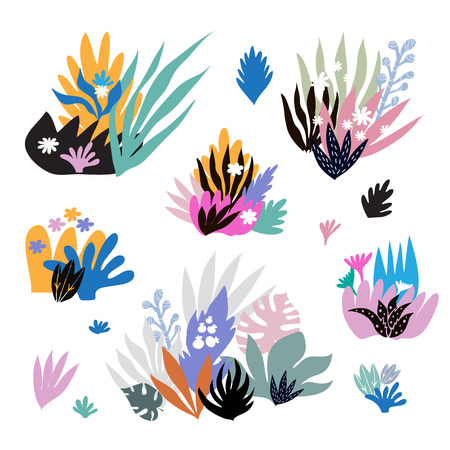 Colorful  fantasy  jungle   set e leaves  in cartoon style  on white background.  Summer  tropical design. Greeting Floral  template postcard, banner, poster. Vector cute illustration.