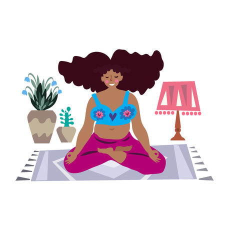 Yoga, Feminism body positive . Happy plus size girl and active healthy lifestyle in cartoon style. Floral background.  Vector concept  illustration.