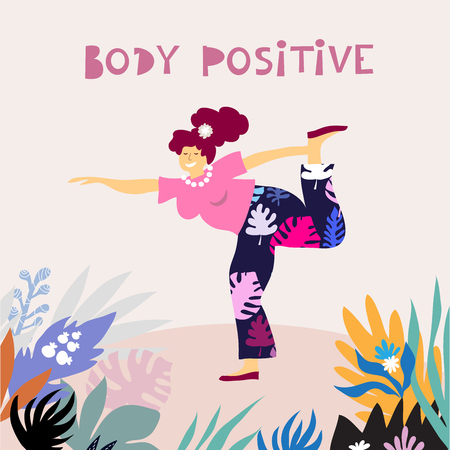 Feminism body positive. Happy plus size girl Floral background. Vector illustration.