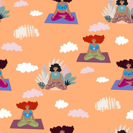 Female yoga.  Cute seamless pattern with   beautiful cartoon woman in various poses of yoga,  Vector illustration.