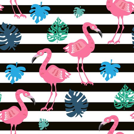 Beautiful colorful seamless pattern  with pink flamingo bird. Tropical flowers background.  Perfect for textile, fabric,  wallpaper,  kindergarten, baby shower, children room decoration.Vector illustration.