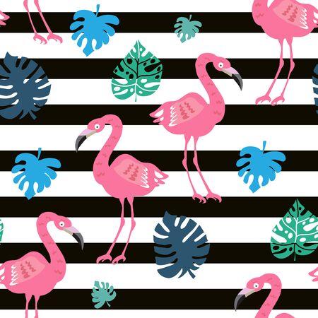 Hermoso patrón transparente de colores con pájaro flamenco rosado. Fondo de flores tropicales. Perfecto para textil, tela, papel tapiz, jardín de infantes, baby shower, decoración de la habitación de los niños.Ilustración de vector. Ilustración de vector