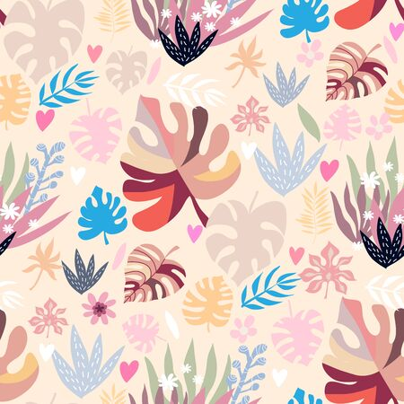 Beautiful seamless pattern with tropical plants  in cartoon style.  Perfect for cards, fabric, textile, wrapping,  wallpaper, banners, kindergarten, baby shower, children room decoration.Vector illustration.