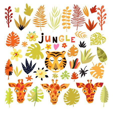 Colorful  fantasy  jungle   set e leaves  in cartoon style  on white background. Giraffe, lion, tiger. Summer  tropical design. Greeting Floral  template postcard, banner, poster. Vector cute illustration. Иллюстрация