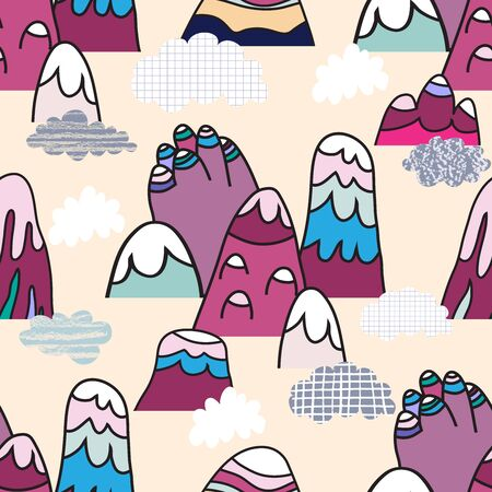 Cute seamless pattern with a mountain landscape, clouds. Nordic nature landscape concept. Perfect for kids fabric, textile, nursery wallpaper.Scandinavian design in flat cartoon style.  Vector illustration.