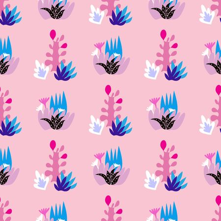 Beautiful colorful   seamless pattern . Tropical flowers background. Cute vector elements in flat cartoon style. For your design, posters, textile, wedding invitation .  Vector illustration.