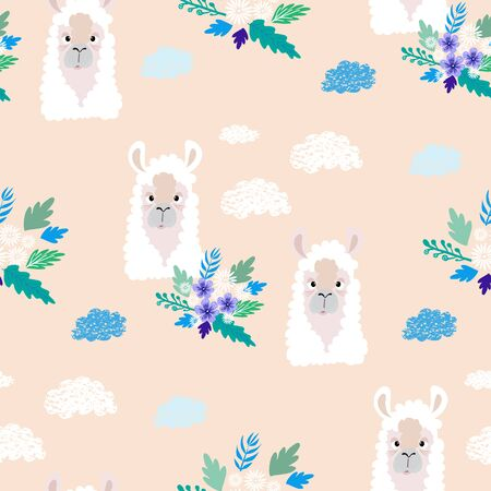 Awesome  hand drawn seamless pattern with  cute lama in cartoon style. Perfect for cards,  wallpaper, textile,  fabric, kindergarten, baby shower, children room decoration. Vector illustration. Illusztráció