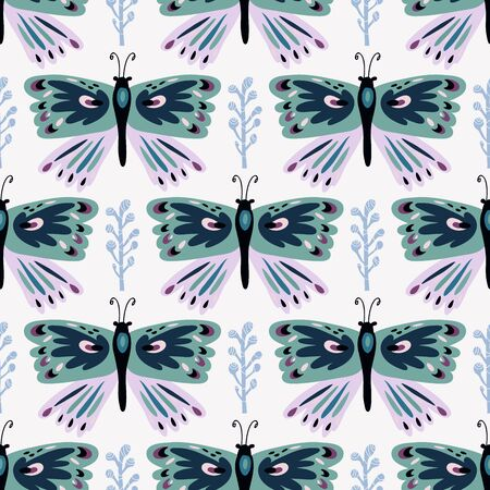 Colorful folk  seamless pattern with butterflies and flowers. Perfect for textile, fabric, wallpaper, kindergarten, children room decoration. Vector illustration.