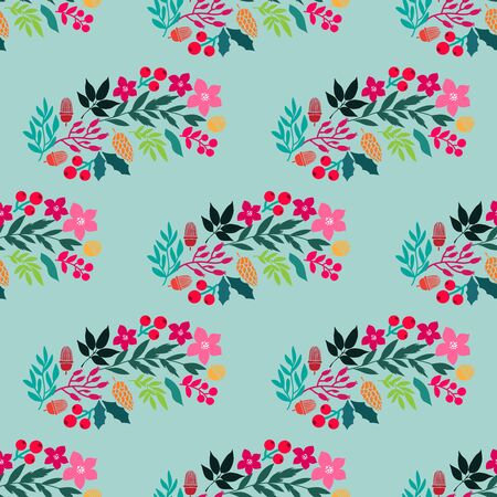 Merry Christmas  winter floral  holiday art background. Hand drawn Christmas  seamless pattern  with   poinsettia  and flowers.  Unique hand drawn winter floral  design. Vector illustration. Ilustrace