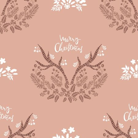 Merry Christmas  winter floral  holiday art background. Hand drawn Christmas  seamless pattern  with reindeer and  winter flowers.  Unique hand drawn winter design. Vector illustration. Ilustrace