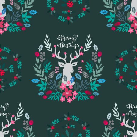 Merry Christmas  winter floral  holiday art background. Hand drawn Christmas  seamless pattern  with reindeer and flowers.  Unique hand drawn winter design. Vector illustration. Ilustrace