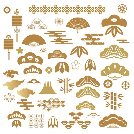 Big set of japanese, chinese elements for  banner, poster in oriental style.  Cloud, wave, moon, bamboo tree, sakura, and mountain. Happy chinese new year,  mid autumn festival.Vector illustration. Stock Illustratie