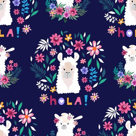Awesome  hand drawn seamless pattern with  cute lama in cartoon style. Perfect for cards,  wallpaper, textile,  fabric, kindergarten, baby shower, children room decoration. Vector illustration. Illustration