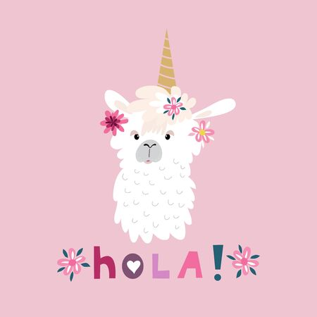 Awesome  cute lama in flat cartoon style. Flower wreath. Make your own magic. Kids illustration for design prints, cards and birthday invitations. Vector illustration.