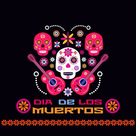 Dia de Los Muertos, Day of the Dead or Halloween greeting card, invitation, banner. Sugar skulls and colorful flowers. Template  for mexican celebration, traditional mexico skeleton decoration. Vector illustration. Vectores