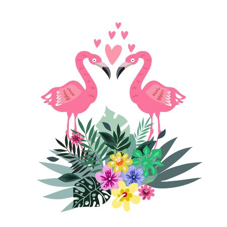 Tropical  flowers background with pink flamingo bird.   Summer design.. Cute vector elements in flat cartoon style. For your design, posters, textile, wedding invitation, business products. Vector illustration.   Ilustracja