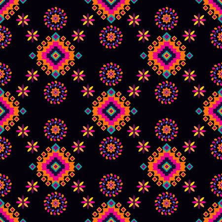 Geometric tribal simple print. Abstract seamless mexican pattern. Colorful abstract latino texture. Repeating aztec geometric tiles. Vector illustration. Ilustração Vetorial