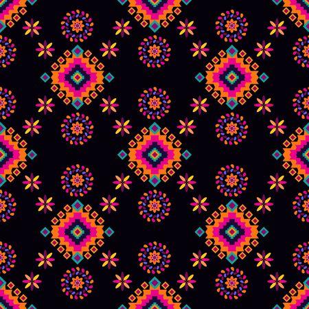 Impresión simple tribal geométrica. Modelo mexicano inconsútil abstracto. Textura de latino abstracto colorido. Repetición de azulejos geométricos aztecas. Ilustración de vector. Ilustración de vector