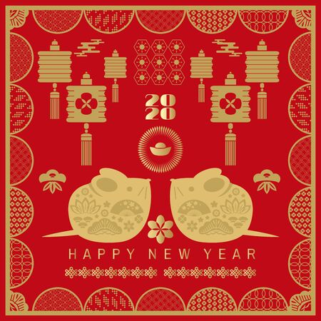 Happy chinese new 2020  year, year of the rat.  Template  banner, poster in oriental style. Japanese, chinese elements.  Vector illustration. Illusztráció