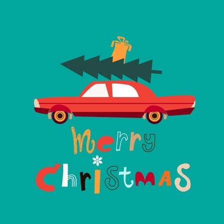 Christmas car with fir tree  and gift boxes in flat cartoon style. New year delivery. Merry Christmas text slogan. Cute design for party invitation, holiday poster design, sale banner. Vector illustration. Çizim