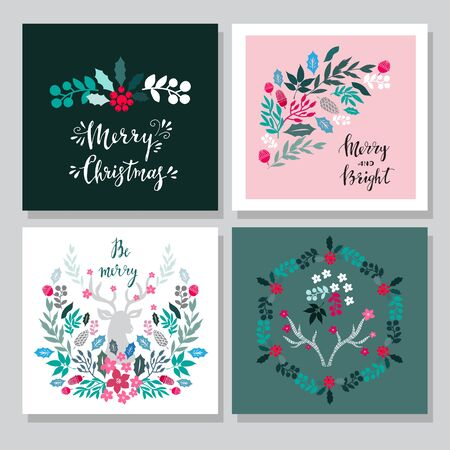 Set of hand drawn christmas cards  with  lettering, christmas wreath, raindeer, rowan, mistletoe,  conifers: fir, larch, juniper, pine, spruce. Unique  hand drawn Merry Christmas  design for invitation, poster,  greeting card. Xmas. Vector illustration.