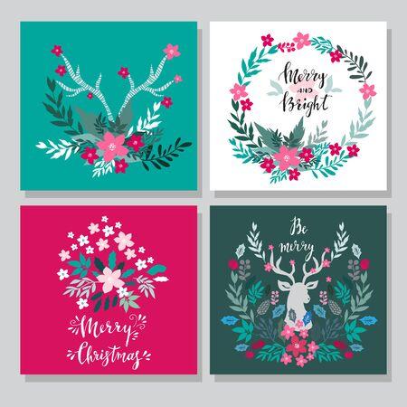 Set of hand drawn christmas cards  with  lettering, christmas wreath, raindeer, rowan, mistletoe,  conifers: fir, larch, juniper, pine, spruce. Unique  hand drawn Merry Christmas  design for invitatio