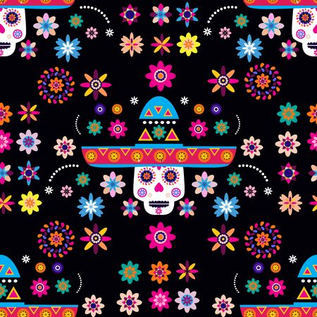 Mexican seamless pattern, sugar skulls and colorful flowers. Template  for mexican celebration, traditional mexico skeleton decoration. Dia de Los Muertos, Day of the Dead .Vector illustration. Illustration