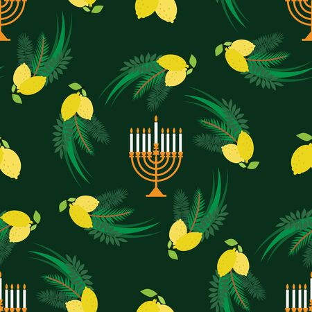 Happy Sukkot- template  seamless pattern for textile, paper. Jewish Feast of Tabernacles with sukkah, lemon, etrog, lulav, Arava, Hadas. Vector illustration. Çizim