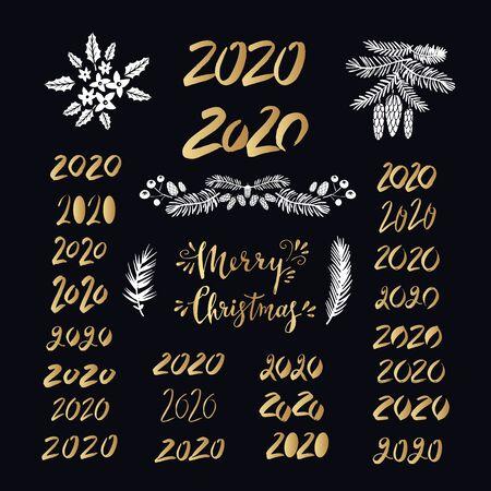 Merry Christmas. Handwriting inscription with mistletoe, ,christmas wreath, conifers: fir, larch, juniper, pine, spruce. Unique hand drawn winter design for invitation, greeting card. Xmas.Vector illustration.