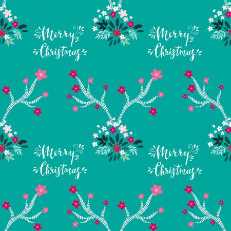 Merry Christmas winter floral holiday art background. Hand drawn Christmas seamless pattern with poinsettia and flowers. Unique hand drawn winter floral design. Vector illustration.