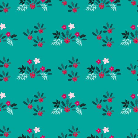 Merry Christmas  winter floral  holiday art background. Hand drawn Christmas  seamless pattern  with   poinsettia  and flowers.  Unique hand drawn winter floral  design. Vector illustration. Stock Illustratie