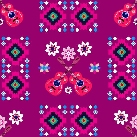 Geometric tribal simple print. Abstract seamless mexican pattern.  Colorful abstract  latino  texture. Repeating aztec geometric tiles. Vector illustration.