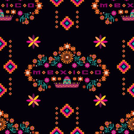 Geometric tribal simple print. Abstract seamless mexican pattern.  Colorful abstracе texture. Repeating aztec geometric tiles. Vector illustration. Ilustracja