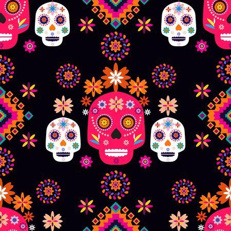 Modello messicano senza cuciture, teschi di zucchero e fiori colorati. Modello per la celebrazione messicana, decorazione tradizionale dello scheletro del Messico. Dia de Los Muertos, giorno dei morti. Illustrazione di vettore.