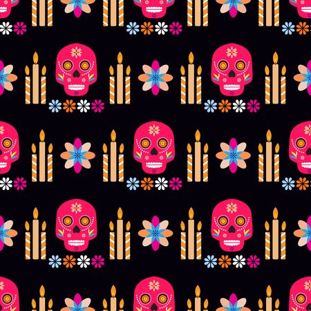 Mexican seamless pattern,sugar skulls and colorful flowers. Template  for mexican celebration, traditional mexico skeleton decoration. Dia de Los Muertos, Day of the Dead .Vector illustration. Illustration