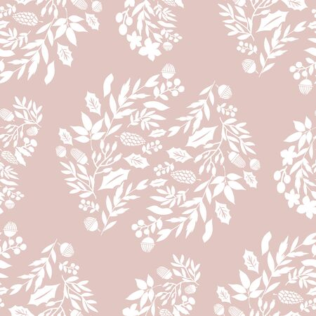 Merry Christmas  winter floral  holiday art background. Hand drawn Christmas  seamless pattern  with   poinsettia  and flowers.  Unique hand drawn winter floral  design. Vector illustration. Illustration