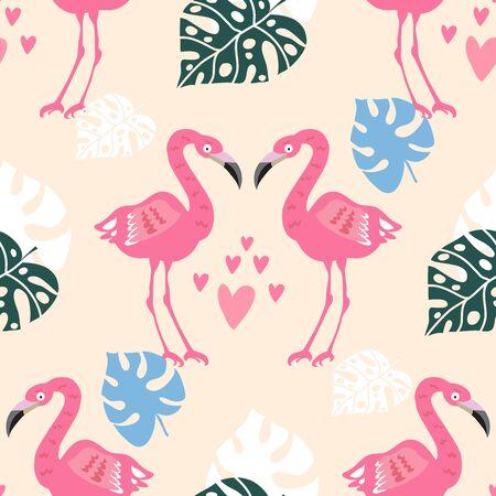 Beautiful colorful seamless pattern with pink flamingo bird.