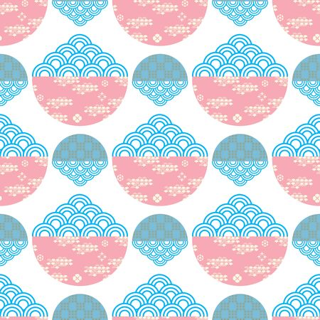 Beautiful japanese seamless pattern with clouds, waves. Japanese, chinese elements. Vector seamless asian texture. For printing on packaging, textiles, paper,fabric,  manufacturing, wallpapers.