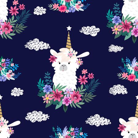 Awesome  hand drawn seamless pattern with  cute lama in cartoon style. Perfect for cards,  wallpaper, textile,  fabric, kindergarten, baby shower, children room decoration. Vector illustration. Banco de Imagens - 133744172
