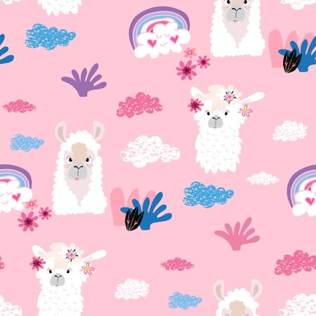 Awesome  hand drawn seamless pattern with  cute lama in cartoon style. Perfect for cards,  wallpaper, textile,  fabric, kindergarten, baby shower, children room decoration. Vector illustration. Banco de Imagens - 133744175
