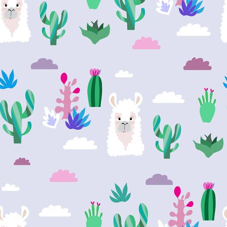 Awesome  hand drawn seamless pattern with  cute lama in cartoon style. Perfect for cards,  wallpaper, textile,  fabric, kindergarten, baby shower, children room decoration. Vector illustration. Banco de Imagens - 133744177