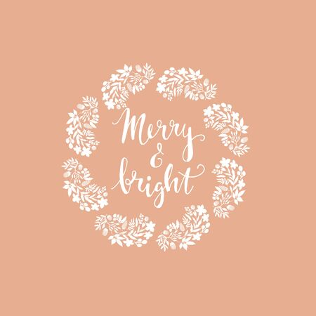 Merry Christmas and happy new year.  Greeting card with   christmas  floral wreath. Unique festive  winter design. Handdrawn holiday elements. Vector illustration